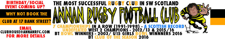 With 9 championships, 2 bowl final wins and many other honours, Annan Rugby are the most successful rugby club in SW Scotland